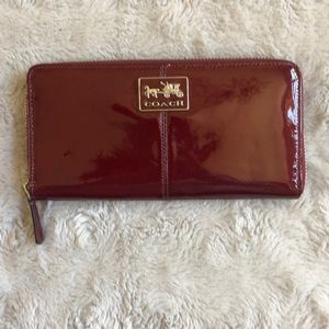 Red Patent Leather Coach Wallet
